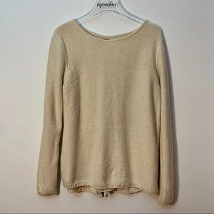 Market & Spruce Cream Sweater Zip Back Size Large